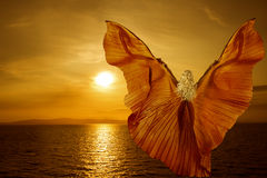La mujer con la mariposa se va volando el vuelo en puesta del sol del mar de la fantasía fotos de archivo