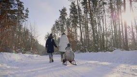 La mujer con los niños pasa en un camino nevoso a través del bosque almacen de metraje de vídeo