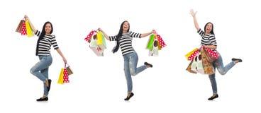 La mujer con los panieres aislados en blanco fotografía de archivo libre de regalías