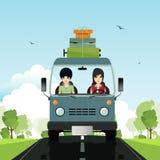La mujer conduce la furgoneta stock de ilustración