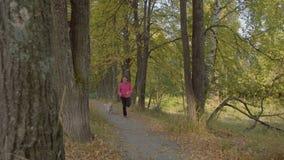 La mujer corre en la madera Los trenes de la mujer Corra por un trote almacen de metraje de vídeo