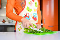 La mujer cortó las hojas verdes en la tabla de cocina Fotos de archivo