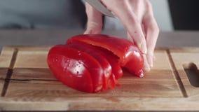 La mujer corta la pimienta roja, pimientas de la carne asada, comida vegetariana, ensalada con las verduras, haciendo la comida d metrajes