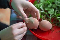 La mujer da los huevos de Pascua de adornamiento y de pintura 3 Fotografía de archivo