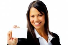 La mujer de Businesscard aisló Fotos de archivo libres de regalías