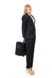 La mujer de la empresaria que viaja con la maleta imagenes de archivo