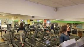 La mujer de los deportes de los jóvenes se está resolviendo en gimnasio Entrenamiento cardiio El ejecutarse en la rueda de ardill metrajes