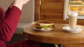 La mujer de moda que lleva el vestido rojo en un café hace la foto de la comida del bocadillo con la cámara del teléfono móvil pa almacen de video