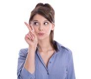 La mujer de negocios aislada está presentando con el finger. Imagenes de archivo