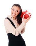 La mujer de negocios con la sorpresa está sonriendo Fotos de archivo