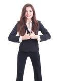 La mujer de negocios derecha que muestra el doble le gusta gesto Imagenes de archivo