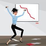 La mujer de negocios enojada rasga su pelo hacia fuera ilustración del vector