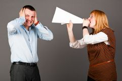 La mujer de negocios está gritando Foto de archivo