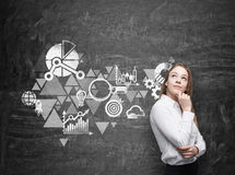 La mujer de negocios está pensando en esquema de la optimización del negocio Tablero de tiza negro como pared en el fondo Imágenes de archivo libres de regalías