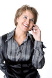 La mujer de negocios habla por el teléfono Fotos de archivo