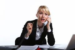 La mujer de negocios joven habla por el teléfono Imagen de archivo libre de regalías