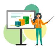 La mujer de negocios joven hace una presentación, mostrando la posibilidad del crecimiento Ejemplo del vector en estilo plano de  libre illustration