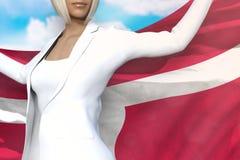 La mujer de negocios joven sostiene la bandera en manos detrás de su parte posterior en el fondo del cielo azul - ejemplo de Dina libre illustration