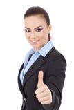 La mujer de negocios manosea con los dedos para arriba Imágenes de archivo libres de regalías