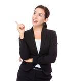 La mujer de negocios piensa en idea Fotografía de archivo