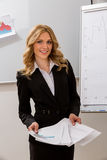 La mujer de negocios presenta el proyecto Fotografía de archivo