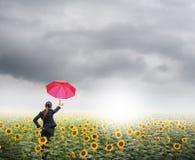 La mujer de negocios roja del paraguas que se coloca en nubes de lluvia sobre los girasoles coloca Fotografía de archivo