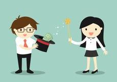 La mujer de negocios utiliza sus poderes mágicos hace el dinero del sombrero Ilustración del vector stock de ilustración
