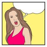 La mujer del arte pop dice stock de ilustración