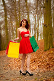 La mujer del comprador del otoño con venta empaqueta al aire libre en parque Imagen de archivo libre de regalías