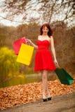 La mujer del comprador del otoño con venta empaqueta al aire libre en parque Fotografía de archivo libre de regalías