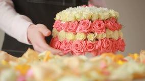 La mujer del florista recolecta un ramo ramo grande apacible de rosas del melocotón metrajes