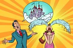 La mujer del hombre cuenta la historia de los castillos del cuento de hadas ilustración del vector