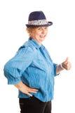 La mujer del tamaño extra grande manosea con los dedos para arriba Imagenes de archivo