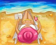 La mujer del vector en bikini miente en el sillón ilustración del vector