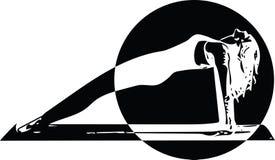 La mujer deportiva hermosa del yogini del ajuste practica yoga libre illustration