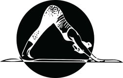 La mujer deportiva hermosa del yogini del ajuste practica yoga ilustración del vector