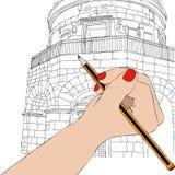 La mujer dibuja el mausoleo de Theodoric en Ravena libre illustration
