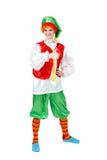 La mujer divertida en el traje del carnaval de la demostración de Pinocchio manosea con los dedos para arriba Imagen de archivo libre de regalías