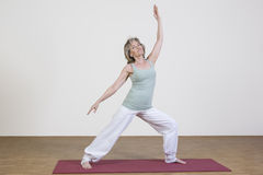 La mujer ejercita yoga Imagen de archivo