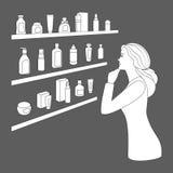 La mujer elige los cosméticos y la perfumería Ilustración del Vector