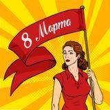 La mujer emancipada lleva a cabo un cartel rojo Reunión del feminismo Estilo retro internacional del arte pop del día del ` s de  Fotografía de archivo libre de regalías