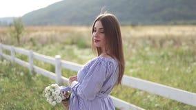 La mujer embarazada atractiva presenta a la cámara y a la sonrisa Soporte de la mujer en naturaleza y campo del pensamiento que c almacen de video
