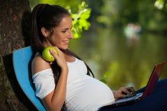La mujer embarazada con la computadora portátil se sienta en el parque. Fotos de archivo