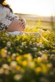 La mujer embarazada se sienta en la hierba Fotos de archivo