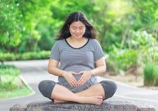 La mujer embarazada se sienta en la madera con la muestra de la mano del amor Fotos de archivo