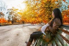 La mujer embarazada se sienta en un parque durante tiempo del otoño fotografía de archivo