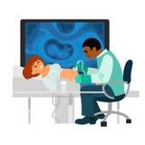 La mujer embarazada tiene su ultra control de los sonidos para arriba libre illustration