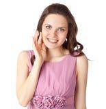 La mujer Embarrassed está sonriendo Imágenes de archivo libres de regalías