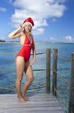 La mujer en el casquillo de Papá Noel-Klaus del Año Nuevo en el fondo del mar Imágenes de archivo libres de regalías
