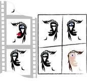 La mujer en el cine stock de ilustración
